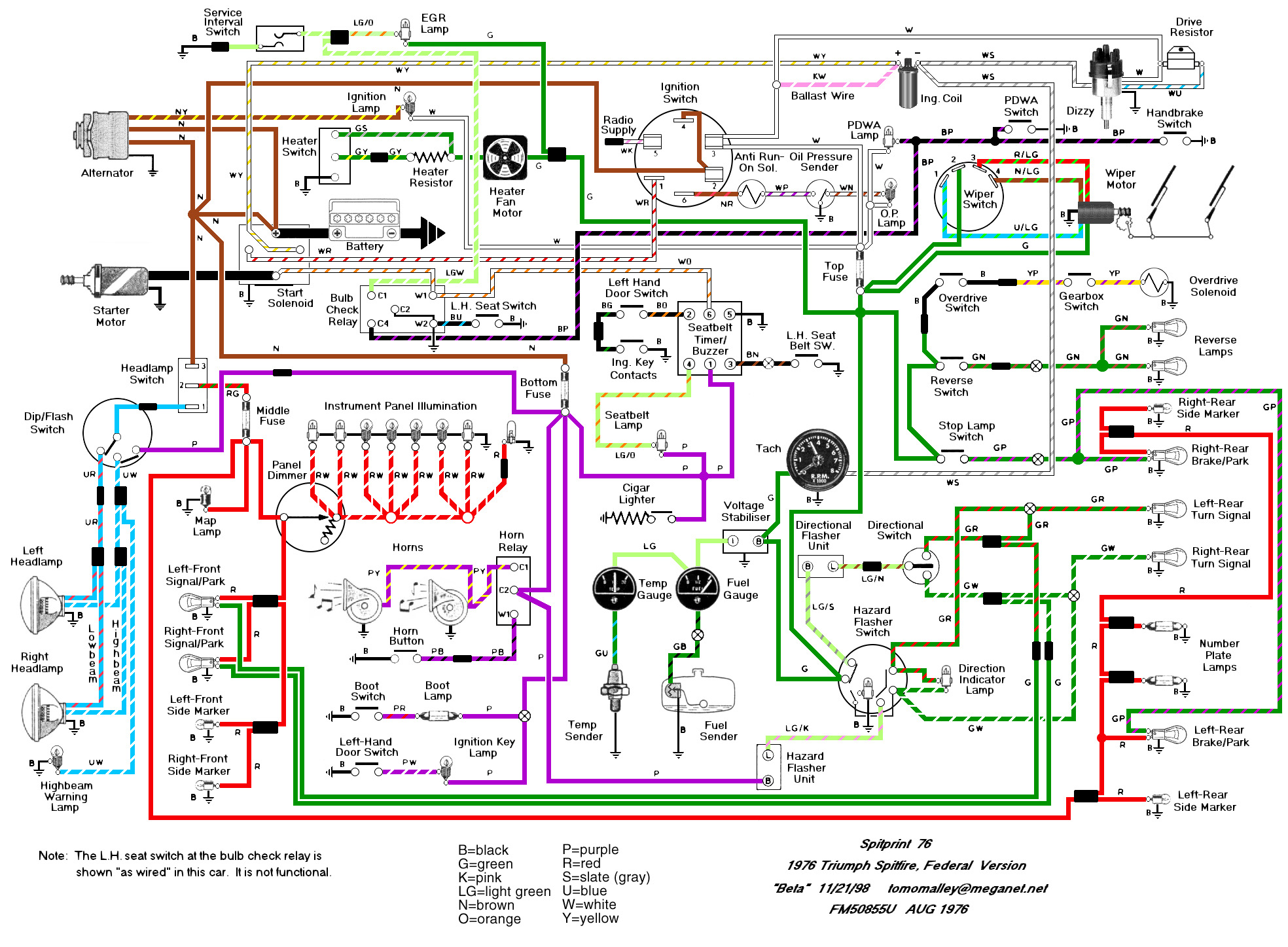 76diagram wiring schematics and diagrams triumph spitfire, gt6, herald triumph spitfire wiring harness at gsmx.co